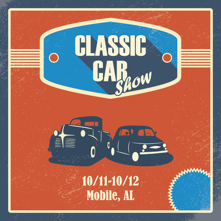 car show: Classic car show poster. Old retro automobile design. Promotional design with pick-up truck.  Illustration
