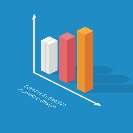 statistics icon: Infographics graph element. Isometric design chart. Statistics icon for data visualization.