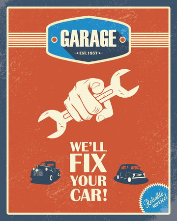 repair shop: Classic garage poster. Vintage cars. Retro style design. Grunge background. Long shadow font. Automotive repair shop.