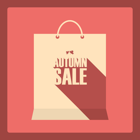 shopping sale: Autumn sale poster. Special offer promotion. Discounts design template. Long shadow typography text. Shopping bag symbol.
