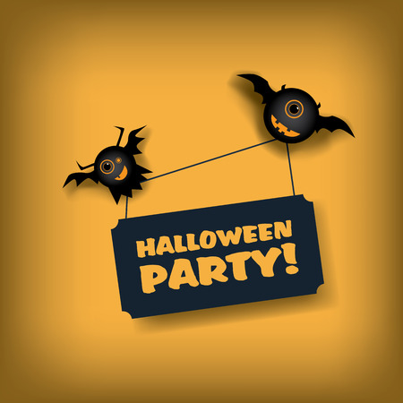 treat: Halloween party invitation template. Holiday celebration poster or card. Adorable cartoon design for children with flying monsters.