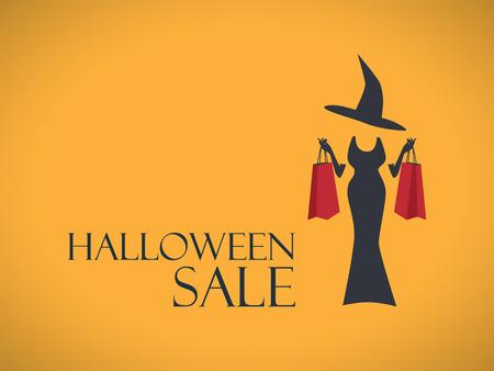 ハロウィン セール ポスター テンプレート。特別な休日の割引チラシ。ファッション販売の広告。ショッピング バッグとドレスのエレガントな魔女