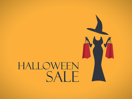 Halloween sale poster template. Special holiday discounts flyer. Fashion sales advertising. Elegant witch in dress with shopping bags.  Illusztráció
