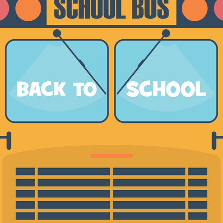 elementary schools: Back to school poster. School Bus front view with windows. Cartoon design for children.  Illustration