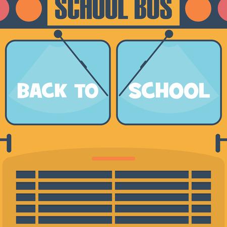 autobus escolar: De nuevo al cartel de la escuela. Autob�s escolar fachada con ventanas. Dise�o de dibujos animados para los ni�os. Vectores