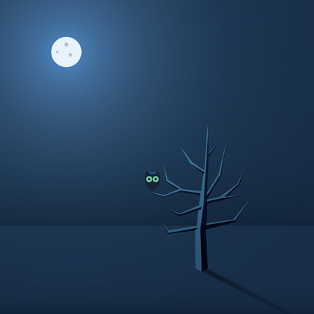 Halloween blank card. Dark scene with owl on a tree and moon shining. Simple holiday template. Eps10 vector illustration.