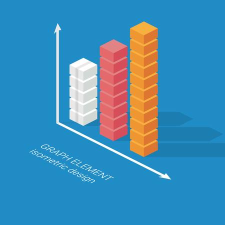 bar charts: Infografía elemento gráfico de columnas. Gráfico diseño isométrico. Estadísticas icono de visualización de datos. Ilustración vectorial Eps10. Vectores
