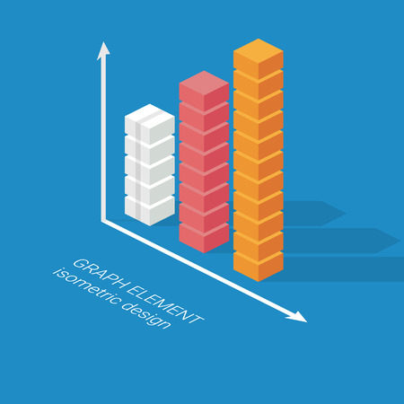 business graph: Infographics column graph element. Isometric design chart. Statistics icon for data visualization. Eps10 vector illustration. Illustration