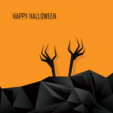 undead: Happy halloween card template. Zombie ghost hands of the undead. 3d Low polygonal design background. Dark horror style. Eps10 vector illustration.
