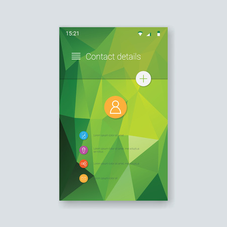 navigazione: Mobile app graphic user interface. Low poly background. Green polygonal geometric shapes. Modern material design layout. Eps10 vector illustration.