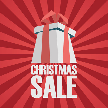 Christmas sale advertising poster. Xmas present background. Simple clean promotional banner. Eps10 vector illustration.