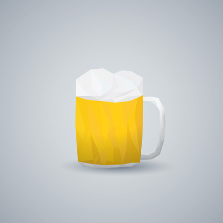 low glass: Low poly beer glass. Modern geometric polygonal shape. Alcohol drink in pint. Eps10 vector illustration.