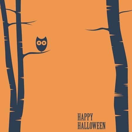 arboles de caricatura: Tarjeta del feliz Halloween con el búho sentado en el árbol. plantilla de la postal de vacaciones. Espacio para el texto. ilustración vectorial eps10