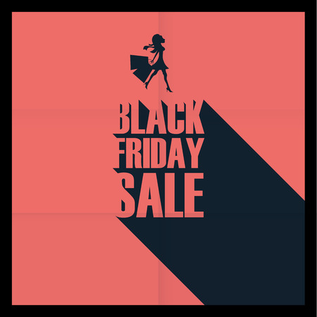 black shadow: Black friday sale poster. Long shadow typography on red background. Elegant sexy woman with shopping bags. Eps10 vector illustration