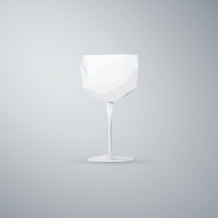 low glass: Wine glass object. Low poly 3d design. Alcohol drink symbol. Eps10 vector illustration
