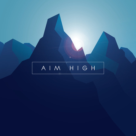 Mountain vector background. Realistic high peaks with blue gradients and lens flare.   Illustration