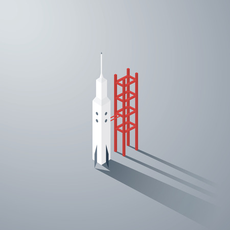 Isometric 3d rocket model. Low polygonal vector background.