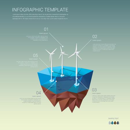 viento: planta de energía ecológica. Turbinas en la isla flotante. Bajo el concepto de diseño poli.