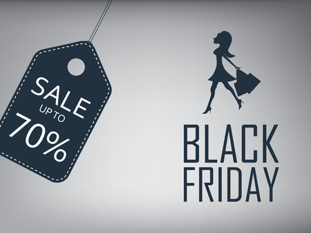 Black friday sale poster. Special offer template with elegant sexy woman or girl. Shopping advertising and promotion. Eps10 vector illustration. Vettoriali