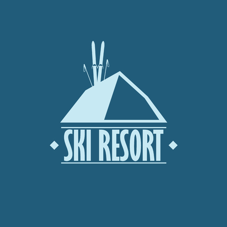 ski resort: Ski resort badge. Flat design with skis and sticks.