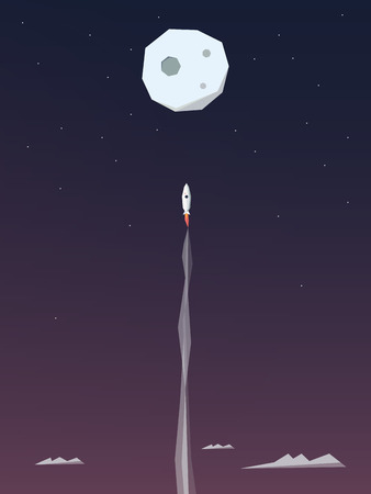 Space rocket flying to the moon. Adventure poster template. Startup business symbol. Eps10 vector illustration.