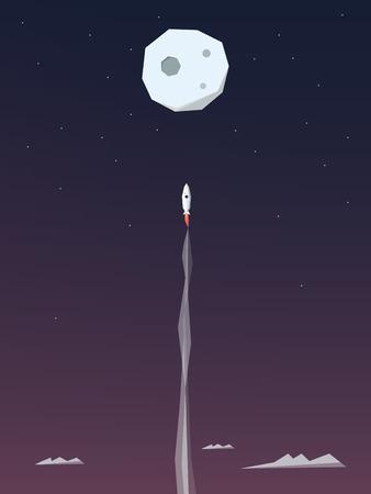 Spazio razzo volare verso la luna. Avventura poster modello. Simbolo di affari di avvio. Eps10 illustrazione vettoriale. Archivio Fotografico - 44490112