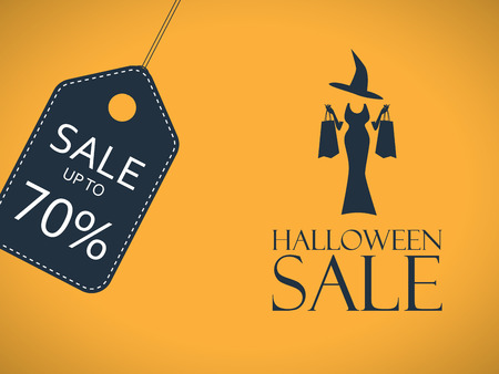 special events: Halloween sale poster. Discount sticker with sexy elegant witch shopping. Price tag template. Eps10 vector illustration. Illustration