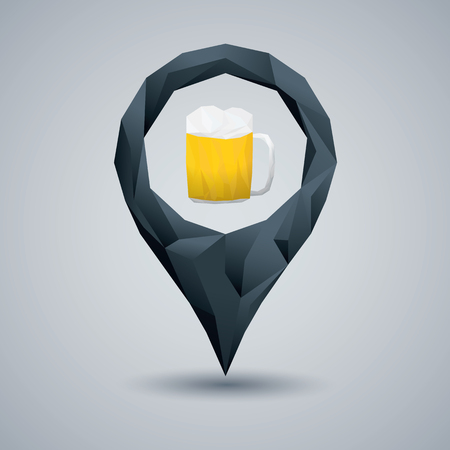 Beer glass low poly design. Geometric polygonal style location pin. Alcohol drink navigation. Advertising for pub or oktoberfest event. Eps10 vector illustration.