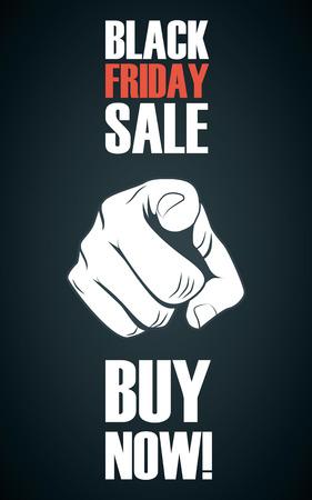 黒い金曜日販売ポスター。手ポインティング テンプレート。ショッピングのバナー広告が割引。Eps10 のベクター イラストです。