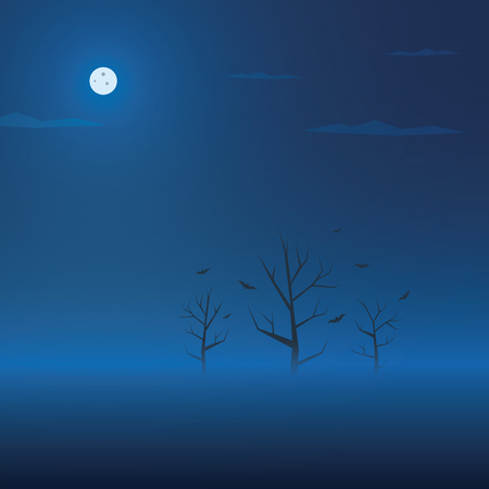 blue sky: Dark halloween background. Creepy trees in fog with bats. Spooky holiday banner. Eps10 vector illustration.