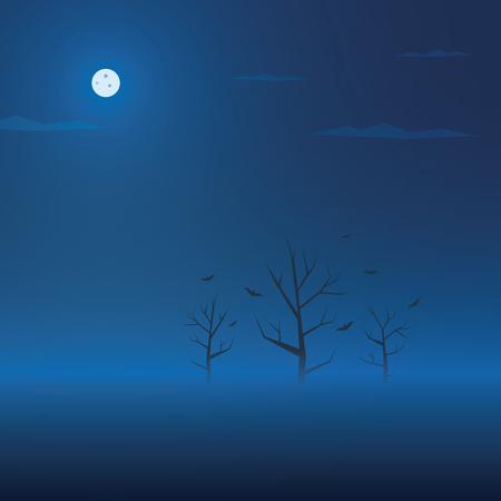 ciel avec nuages: Fond sombre Halloween. Creepy arbres dans le brouillard avec les chauves-souris. Spooky bannière de vacances. Eps10 illustration vectorielle. Illustration