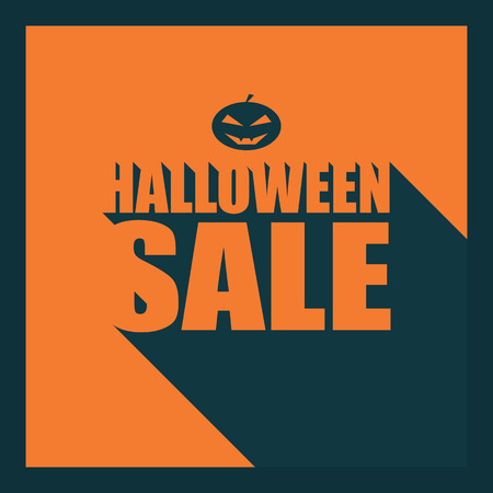 grin: Halloween sale long shadow typography poster. Creative font design. Pumpkin with evil grin. Eps10 vector illustration. Vectores