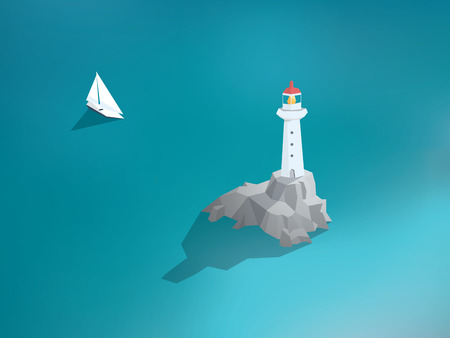 lighthouses: Lighthouse in ocean. Low poly design building. Sea scenery with yacht or sailing boat. Eps10 vector illustration.
