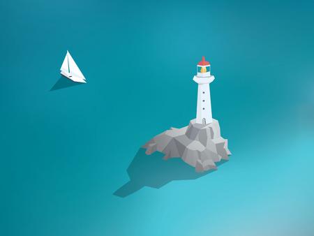bateau voile: Phare dans l'océan. Faible bâtiment design poly. Paysages de mer avec yacht ou voilier. Eps10 illustration vectorielle.