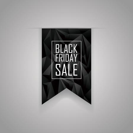 ruban noir: Black friday sale low poly ribbon element. Polygonal geometric 3d design. Shopping sticker template. Eps10 vector illustration.