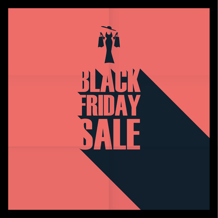 black shadow: Black friday sales poster template. Special offers advertising. Creative typography with long shadow. Elegant woman and shopping bags. Eps10 vector illustration.