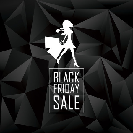 sexy business woman: Black friday sales poster template. Special offers advertising. Low poly background with geometric triangle shapes. Elegant woman and shopping bags. Eps10 vector illustration. Illustration