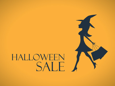 Halloween sale background. Elegant, sexy witch with shopping bags. Special offers advertising. Eps10 vector illustration.