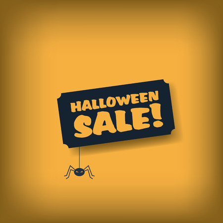 Halloween sale poster template. Advertising banner with spider and text. Eps10 vector illustration. Illustration