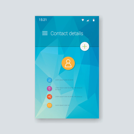 interface design: Material design user interface. Contacts application screen. Low poly background. Polygonal triangles shapes. Eps10 vector illustration. Illustration