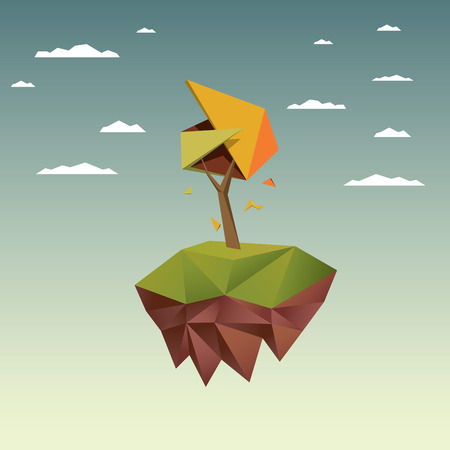 low poly: Low poly autumn tree.  Illustration