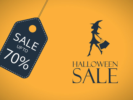 Halloween sale poster. Discount sticker with sexy elegant witch shopping. Price tag template. Eps10 vector illustration. Illustration