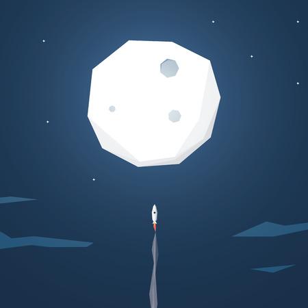 宇宙ロケットが月へ飛ぶ。スタートアップのビジネス背景。低多角形の幾何学的図形。Eps10 のベクター イラストです。