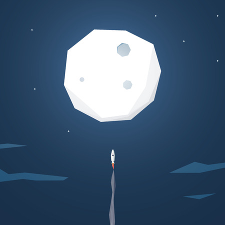 launch: Space rocket flying to the moon. Startup business background. Low polygonal geometric shapes. Eps10 vector illustration.