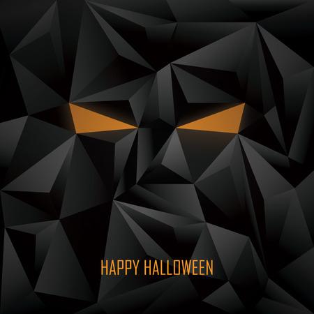 b�se augen: Halloween-Plakat-Vorlage. Low Poly Hintergrund. Monster Gesicht mit b�sen Augen. Eps10 Vektor-Illustration.