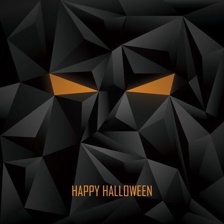 evil eyes: Halloween poster template. Low poly background. Monster face with evil eyes. Eps10 vector illustration.