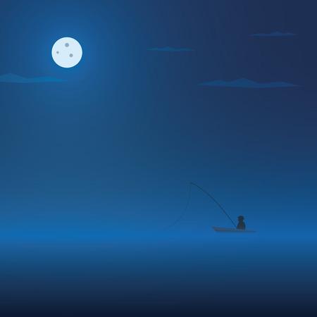 fly fisherman: Fisherman and fishing boat at night. Dark atmosphere cartoon vector background. Eps10 vector illustration. Illustration