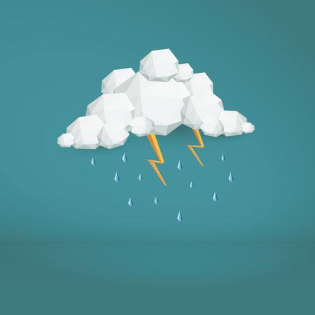 嵐雲低ポリのベクトルの背景。多角形の天気アイコン。近代的な 3 d デザインの壁紙。