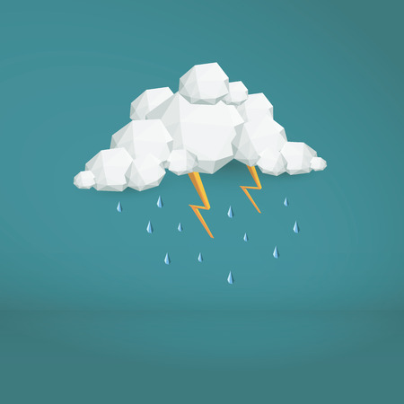thunder storm: Storm cloud low poly vector background. Polygonal weather icon. Modern 3d design wallpaper.