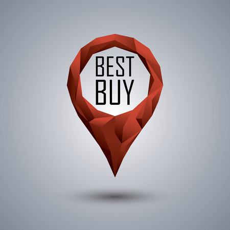 buy icon: Best buy low poly icon. Polygonal location pin with promotional text. Sale advertising banner template. Illustration